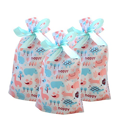 Funcoo 30 PCs Drawstring Treat Bag, Plastic Party Favor Bags Pouch, Candy Goodies Bag for Wedding Party Bridal Baby Shower Birthday Engagement Christmas Holiday Favor (Style-2)