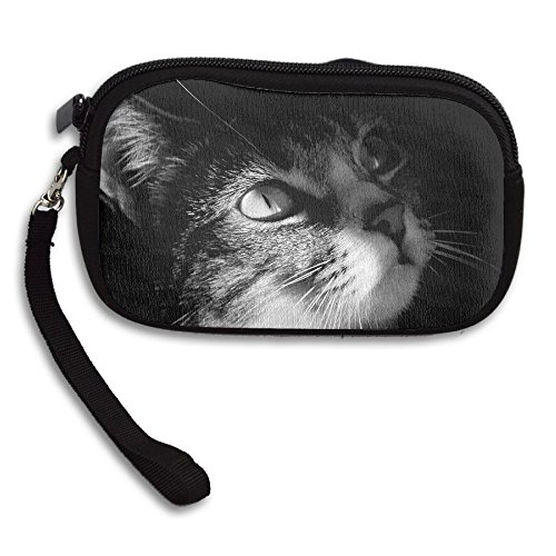 Womens Small Wallet Cute Cat Black Background Zipper Card Purse Phone Case Holder Wallets With Chain Mini Coin Pouch]()