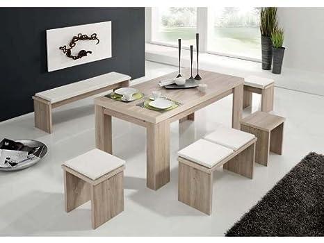 Harbo möbeldesign tavolo e panca lunghezza 140 cm sgabello in