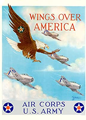 eb83c52981d Amazon.com   Wings Over America - Air Corps US Army - Vintage Reprint  Poster   Prints   Everything Else