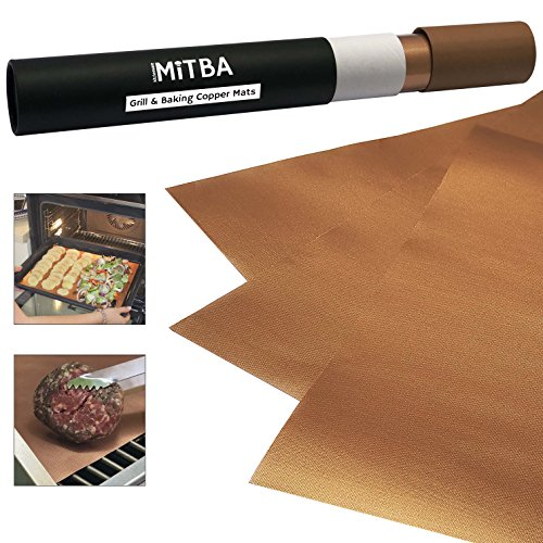 (MiTBA Copper Grill Mats – Best Baking & Grilling Accessories Ever! These Non-Stick & Reusable Magic Gadgets Will Get You Flawless Meat and a Clean Barbecue! Set of 3 XL Mats in a Never-Lose-It Box!)