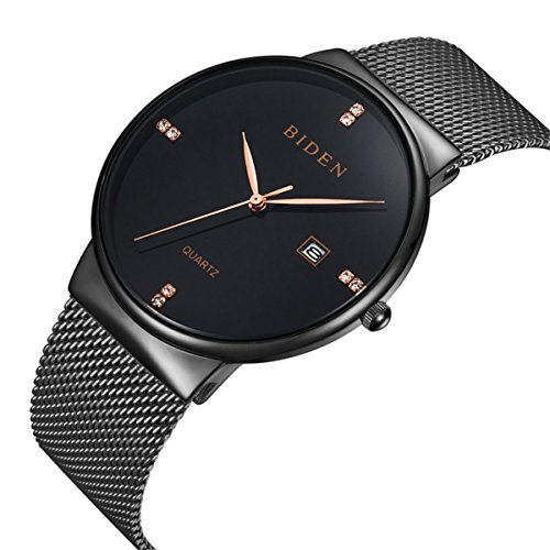 Men's Watch Classic Casual Business Luxury Stainless Steel Watches Waterproof Analog Quartz Milanese Mesh Band Wristwatch Slim Case Mesh Strap Thin Dial Black