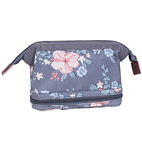 Makeup Bag Organizer Portable Cosmetic Bags Pouch Travel Brush Holder for Women Zipper Purse Waterproof Toiletries Storage Case (Deep Grey (Free Perfume Pen)