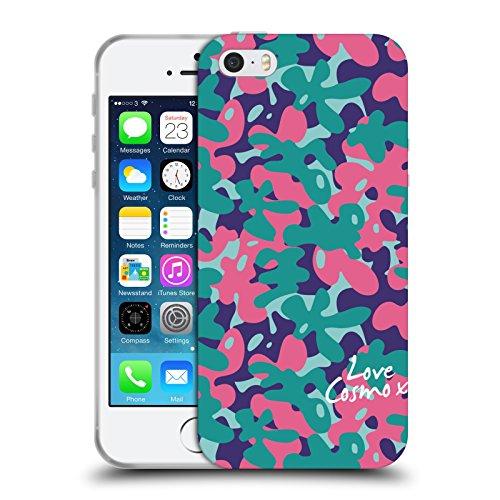 Official Cosmopolitan Teal Pink Camo Soft Gel Case for Apple iPhone 5 / 5s / SE