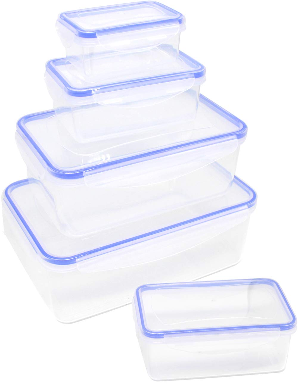 10 Pieces Rectangular Plastic Meal Food Prep Containers with Lids Food Storage Containers Airtight Lunch Containers Portion Control Storage Organizer- BPA Free