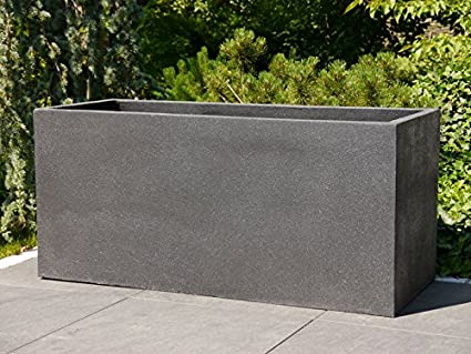 Large Planter Natural 120x50x55 Cm Fibre Cement In Natural Stone