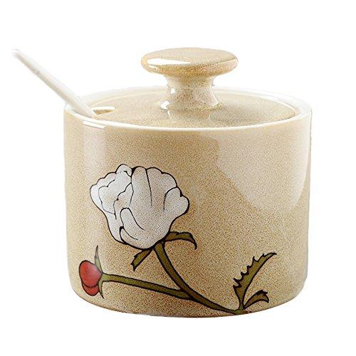 - Vintage Elegant Ceramic Flower Sugar Bowl Set with Lid Spoon Retro Sugar Dispenser Salt Pepper Storage Jar Pot Sugar Container Seasoning Pot Box Condiment Spice Racks Holder,Beige