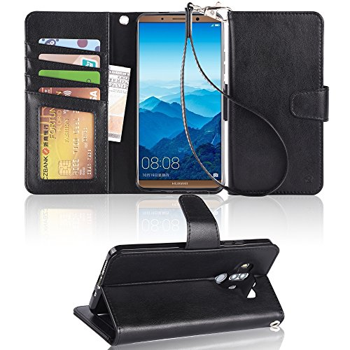 Huawei Mate 10 pro Case, Arae [Kickstand Feature] PU Leather Wallet case with ID&Credit Cards Pocket for HUAWE Mate 10 pro - Black