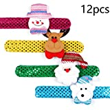 KODORIA 12-Pack Christmas Slap Bracelets Snap Bands Santa Claus Snowman Reindeer Beer Wristband Xmas...