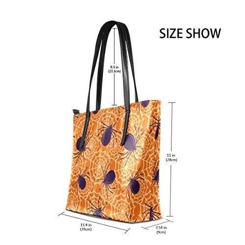 Purses Handbag TIZORAX Fashion Bags Spiders Leather Shoulder PU Handle Totes Women's Top Cobwebs And nS0HwqSOR