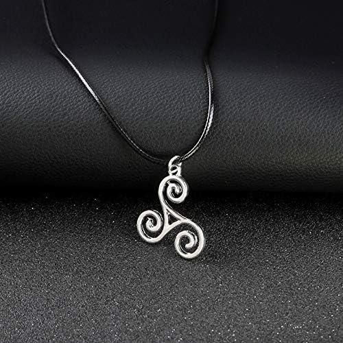Teen Wolf Necklace Triskele Triskelion Allison Argent Silver Color Charm Pendant Fashion Jewelry for Men Women Gifts Wholesale Davitu Pendant Necklaces Length: 45cm