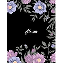 Alessia: 110 Ruled Pages 55 Sheets 8.5x11 Inches Climber Flower on Background Design for Note / Journal / Composition with Lettering Name,Alessia