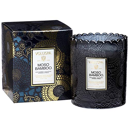 (Voluspa Moso Bamboo Scalloped Glass Candle, 6.2 Ounce)