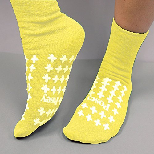 (Non Skid Socks, Large Yellow, 1 pair)