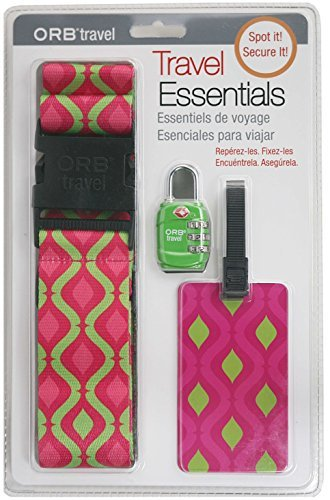 Price comparison product image ORB Travel Premium Designer Luggage Strap Pink/Green-helix TE121