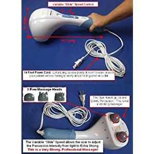 TheraRub Massager® Percussion Double Head Electric Massager, 14 Foot Extra Long Power Cord