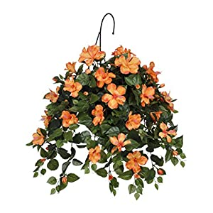 House of Silk Flowers Artificial Hibiscus Hanging Basket 10