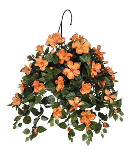 House of Silk Flowers Artificial Hibiscus Hanging Basket, Sunset Orange