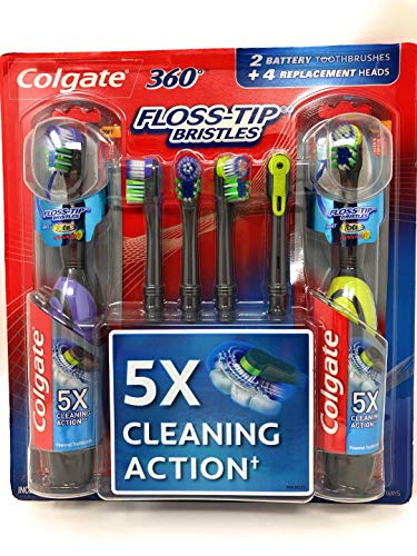 Colgate 360 Floss-Tip Electric (Battery) 2 Toothbrush w/ 4 Replacement Heads Bundle (Toothbrush Colgate 360)