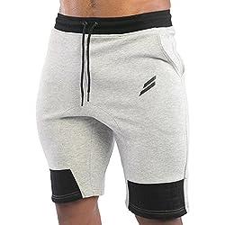 EU Men's Gym Workout Shorts Running Short Pants Bodybuilding Jogger with Pockets Light Grey Medium