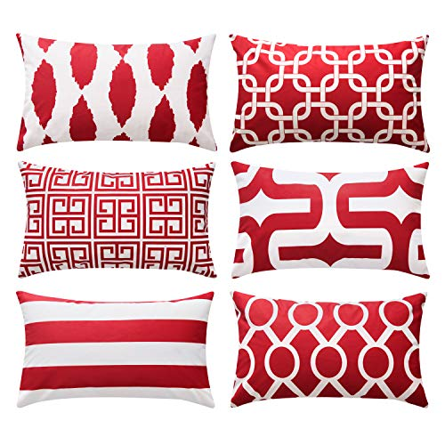 Top Finel Decorative Throw Pillow Cases Soft Microfiber Outdoor Cushion Covers 12 x 20 for Couch Sofa Bedroom Car, Pack of 6, Burgundy ()