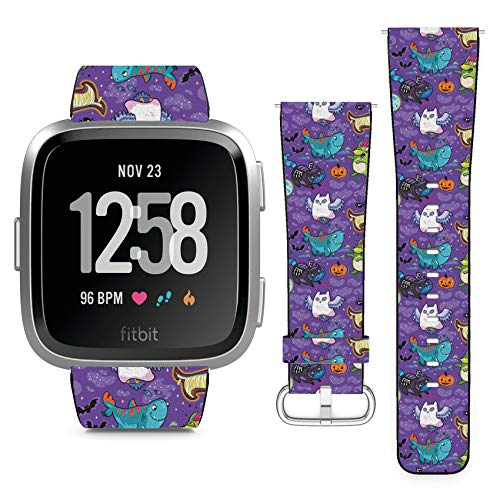 Compatible with Fitbit Versa // Leather Replacement Bracelet Strap Wristband with Quick Release Pins // Fantasy Halloween Animals -