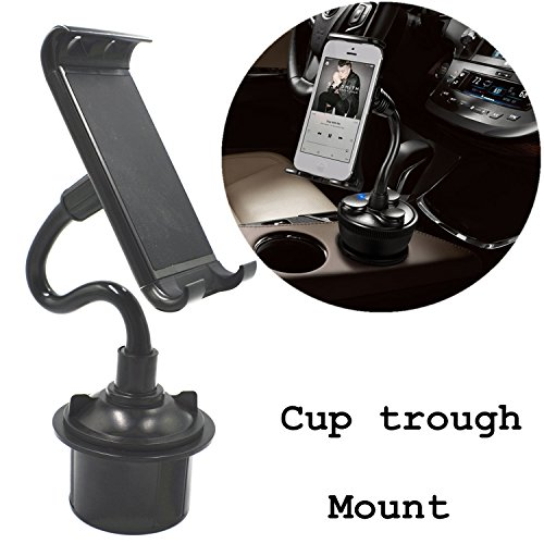 Price comparison product image Ablerv Tablet Cup Mount Holder Car Cradle Kit,360º Rotation Bendable Cellphone / iPad Adjustable Swing Extended