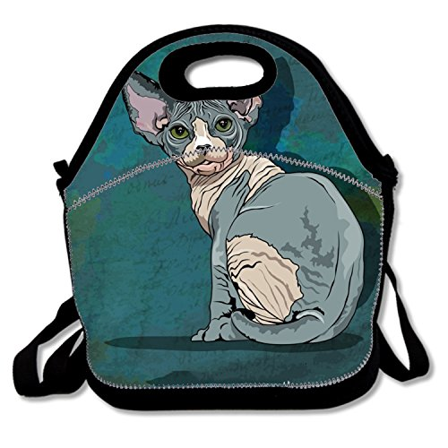 (Durable Lunch Bag Sphynx Cat Lunch Boxes Waterproof For Nurses Teens)