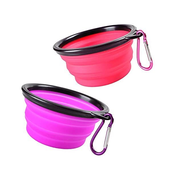 Pop-up Dog Bowl & Pet Bowl – Collapsible Travel Silicone Camping Crate Dish Bowl – 2 Cup Set – Pink/Purple, Small by KIQ