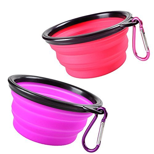 Pop-up Dog Bowl & Pet Bowl - Collapsible Travel Silicone Camping Crate Dish Bowl - 2 Cup Set - Pink / Purple, Small by KIQ