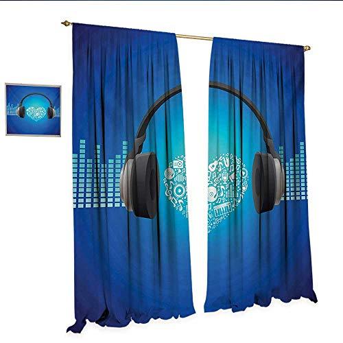 Music Waterproof Window Curtain Headphones Earphones Heart Shape Disk on Circular Geometrical Background Waterproof Window Curtain W72 x L108 Royal Blue and Grey.jpg (Bravo Headphones Earphones)