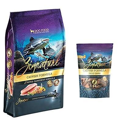 Zignature Catfish Dog Food 4 Pound Bag & Catfish (New) Ziggy Dog Treat Bars 12 Ounce Bag