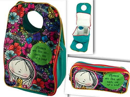 10 Most Popular Christmas Songs - 3 Item Bundle: Cutest Travel Insulated Lunch Tote Bag w/ Zipper Compartment | 1 Water Bottle | 1 Matching Pencil or Play Makeup Storage Case - Satin Vinyl Canvas, Christmas Gifts for Girls