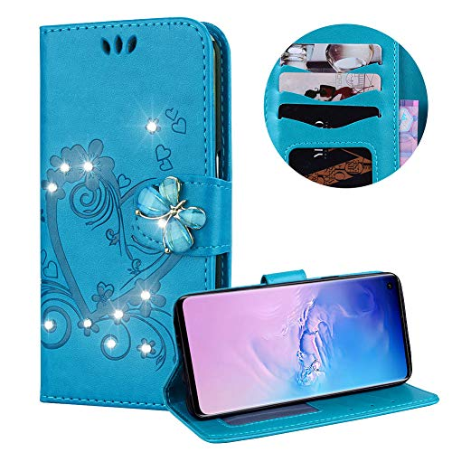 Samsung Galaxy S10 Case,PU Leather Wallet Case for Samsung Galaxy S10,Moiky Luxury Blue 3D Butterfly Bling Rhinestone Embossed Love Heart Soft Leather Flip Magnetic Stand Shockproof Case Cover ()