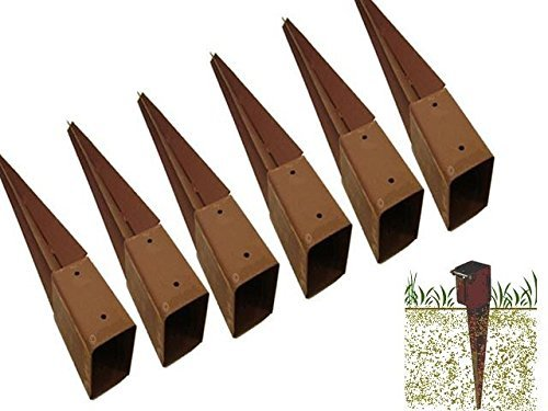 FiNeWaY@ HEAVY DUTY GARDEN FENCE POST METAL HOLDER SPIKE SUPPORT RUST RESISTANT - 75mm (12)