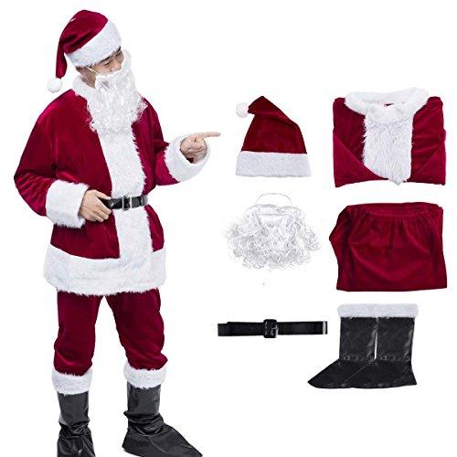 Christmas Santa Claus Costume Set Men Santa Costume Women Deluxe Santa -