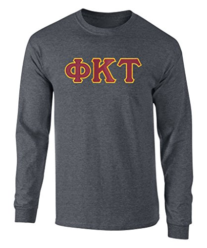 Fashion Greek Phi Kappa Tau Twill Letter Long Sleeve Tee Drk HTH (Tau Greek Letter)