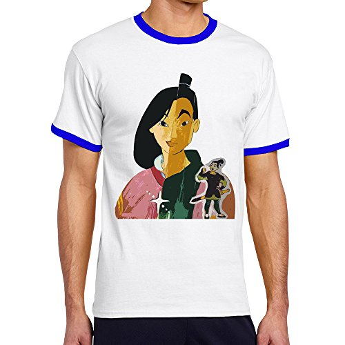 Men's Cool Mulan Movie Contrast Ringer Tshirt L -