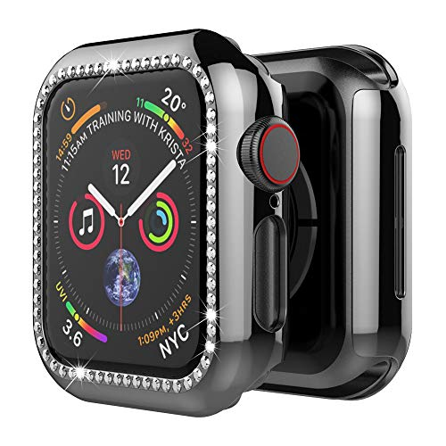 UMTELE Compatible for Apple Watch Case 44mm, Surface Covering Bling Crystal Diamonds Shiny Rhinestone, iWatch Case Protective Cover Frame Replacement for Apple Watch Series 4 ()