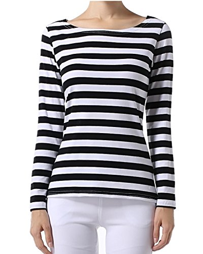OUGES Women's Long Sleeve Stripe Pattern T-Shirts, Black White Wide Stripe, X-Small