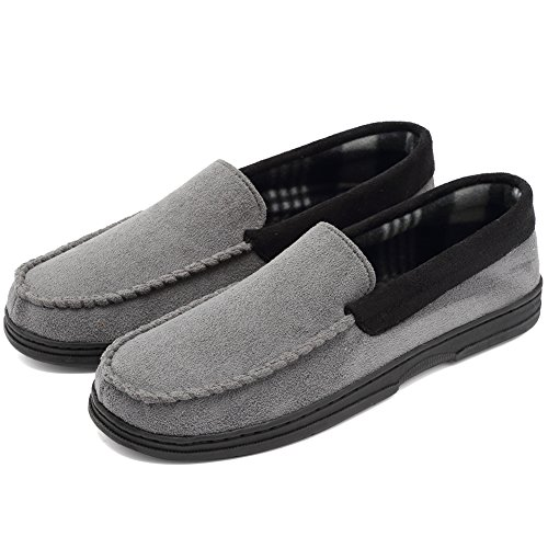 CIOR Fantiny Men's Casual Memory Foam Pile Lined Slip On Moccasin Flats Slippers Micro Suede Indoor Outdoor Rubber Sole-U1MTM011-Gray-44