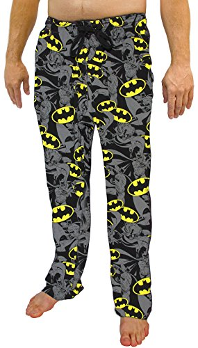 (DC Comics Batman Exploded All Over Print Logo Men's Sleep Pants (X-Large))