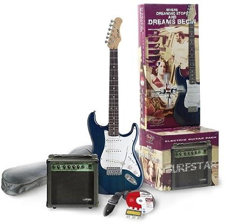 Guitarra eléctrica de Juego: E de guitarra estándar St de forma transparente azul + 10 W Amplificador y afinador ...