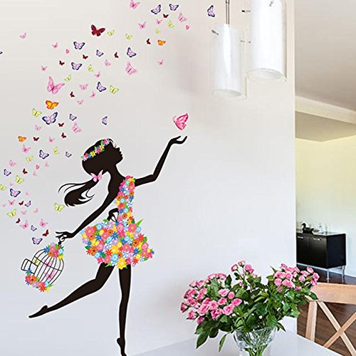 Weiliru Wall Stickers Wall Decal, Attractive Dancing Girl Sticker for Holiday Decoration for Girls Room,Best Gift for Children's Day