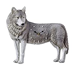 Collections Etc Realistic Wolf Clock Sculpture with Hand Painted Details, Gray Wolf, for Wall, Kitchen, Livingroom