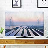 Philiphome Cord Cover for Wall Mounted tv Before Sunrise Solar Power Plants Cover Mounted tv W19 x H30 INCH/TV 32''