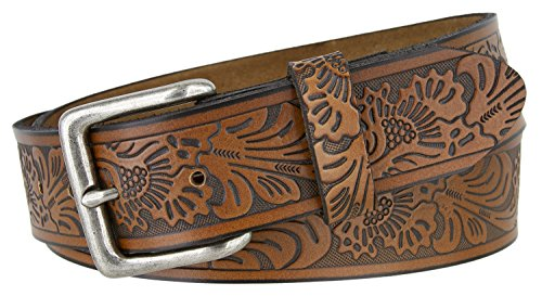 (Floral Western Embossed Leather Belt Strap w/Snaps for Interchangeable Buckles 1 1/2
