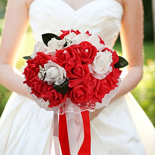 (vLoveLife Wedding Bouquet White & Red Artificial Rose Flowers Bridal Bridesmaid Bouquets Handmade Posy Pearl Rhinestone Ribbon Decor)