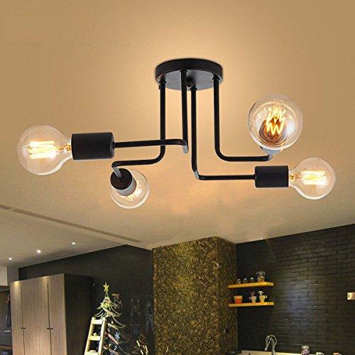 Tengchang Vintage Industrial Ceiling Chandelier Lighting Steampunk Lamp Fixture 4/6/8 (4 Lights) Parlor 4 Light Chandelier