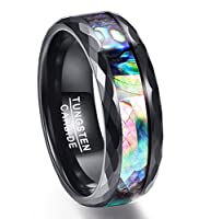 Vakki 8mm Men's Abalone Shell & Polished Black Faceted Tungsten Carbide Rings Wedding Bands Size 5-14